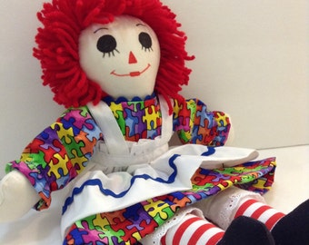 """Autism Awareness Raggedy Ann Doll 15"""" Handmade Priority Shipping Custom Orders available"""