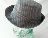 Womens Sunhat in Gray Cotton with Silver Pinstripes - Womens Hats, Summer Hat, Cotton Sunhat, Summer Style, Lightweight Hat, Travel Hat