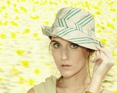 Womens Sunhat in Natural Ecru Silk with Novelty Woven Teal Green Stripes