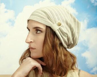 Striped Linen Knit Slouchy Hat - Boho Chic