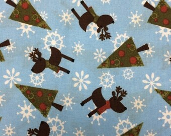 Christmas reindeer tree snowflake winter fabric - 1 yard - pale blue - more available