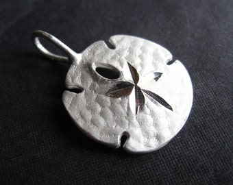 Larger Sand Dollar 24mm X 16mm sterling silver charm