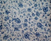 Classic Blue and White Rose Fabric Floral Fabric Roses Fabric Buds Leaves Vines - Cotton Fat Quarter Fabrics for Quilting or Craft Remnant