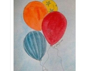 Bright balloon watercolor paintings is perfect for children's preschool, bedroom, bathroom or nursery.