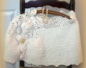 Ruffled Wrap, Bridal wrap,Ivory wrap, Crocheted wrap, Lacy wrap, Romantic evenings,