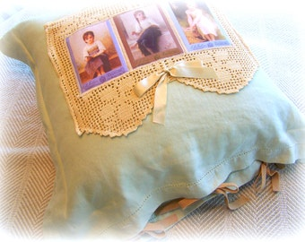 Pillow COVER, Throw pillow 3 SISTERS Celery Green Linen pillow COVER, 20 inches with cover, bff gift, sister gift