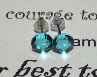 Light Turquoise Swarovski Crystal Post Style Earrings 7mm Hypo Allergenic Nickel Free