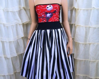 NMBC Jack Skellington Strapless Summer Sun Dress Cosplay Costume Adult Medium / Large MTCoffinz  (Add Straps Option) - Ready to Ship