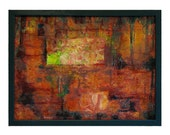 Abstract Painting Mixed Media Wood Frame Forest Green Gold Rust Glass Wall Art
