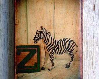 Vintage Toy  Z is for Zebra Art/Photo - Wall Art 4x6