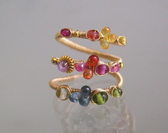Rainbow Wire Wrapped 14k Gold Filled Gemstone Ring with Emerald, Sapphire, Ruby