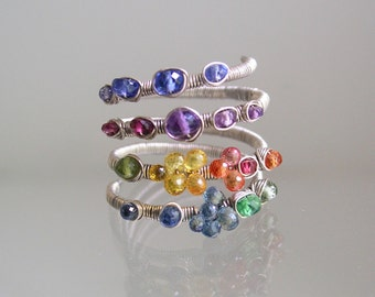 Rainbow Gemstone Silver Wraparound Ring, Argentium, Sapphire, Amethyst, Tanzanite, Four Layer, Original Design, Made to Order, 7, 8, 9