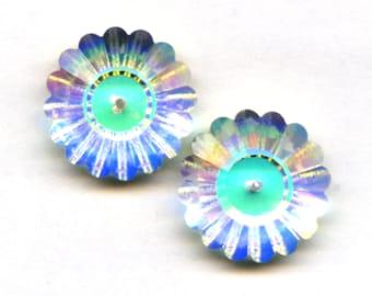 Vintage Swarovski Margaritas 20 Millimeters, Crystal AB Art 3701 Flower Beads, Totally Discontinued (2)