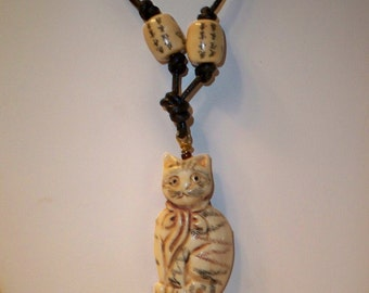 Cat Necklace, Bone Cat Pendant, Cat Choker Necklace with Carved Bone Cat Pendant and Asian Ceramic Beads on Adjustable Black Leather Cord