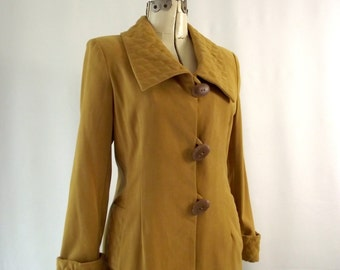 1970s Mustard Yellow Long Quilted Coat Small Over Coat Full Length Long Autumn Ochre Yellow Golden