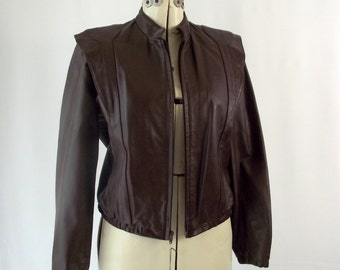 1980s Ox Blood Fine Leather MOTO Jacket Zip Out Lining Medium