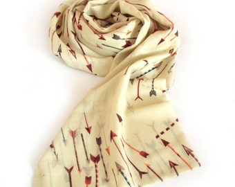 Printed wool scarf, yellow arrows, long style, double-sided wrap