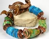 Turquoise Beaded Bracelet, Chunky Turquoise Bracelet, Copper Jewelry, Turquoise and Copper, Rustic Southwestern Jewelry, Leather- Flagstaff