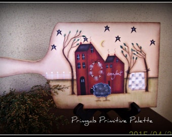 Primitive Saltbox Wood Cutting Board Home Decor Kitchen