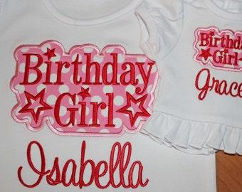 Birthday Girl --- Matching Doll --- Applique shirts