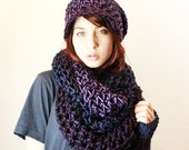SET Purple Haze Rasta Love Cowl Hood Vegan scarf slouch hat fingerless gloves eggplant black