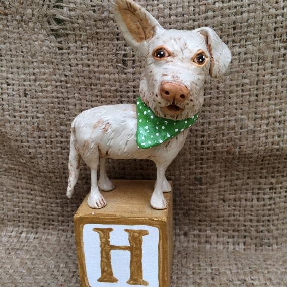 Custom Dog Pet Pooch clay folk art sculpture pet memorial