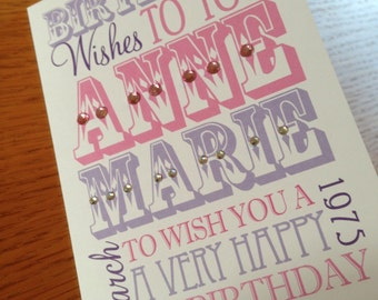Typographic Birthday Card with name/age/relation