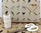 garden birds gift wrap set (100% recycled)