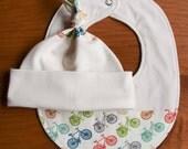 Bicycle Baby Gift; Organic Cotton Hospital Hat, Drool Bib Gift Set; Bike Newborn Baby Cap, Teething Bib Gift Set; Handmade in Canada; RIDE