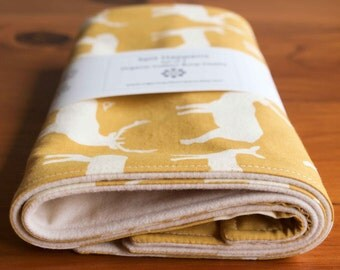 Organic Burp Cloth, Set of Two in ELK FAMILY SUN; Yellow Elk Deer Organic Burp Pads Gift Set of 2 for Newborn Baby Organic Baby Shower Gift