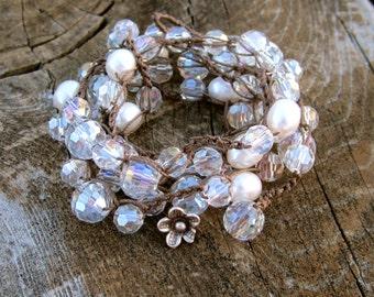 Pearl crystal/ Gemstone  crocheted wrap bracelet/necklace