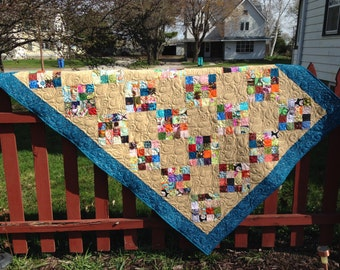 Scrappy 16 patch lap quilt