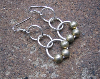 Eco-Friendly Dangle Earrings - Circular Reasoning - Recycled Vintage Distressed Silvertone Metal Beads and Contemporary Hoops