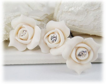 Rosebud Crystal Hair Pins - Rose bud Wedding Hair Flowers