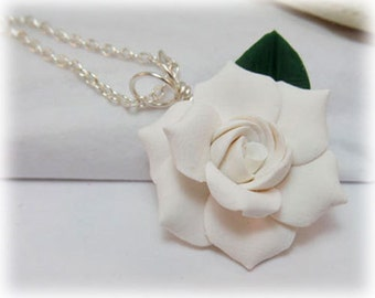 White Gardenia Leaf Necklace - Gardenia Jewelry Collection
