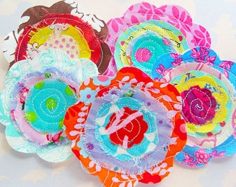 Sewn Fabric Flowers Embellishment Set of Five