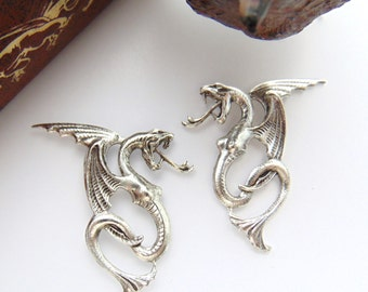 SILVER (1 Pair) Breasted Dragons Stamping ~ Jewelry Antique Silver Findings (C-1203) #