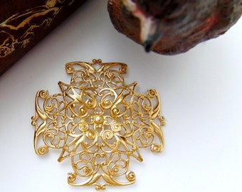 BRASS (2 Pieces) Filigree CROSS Stamping - Jewelry Ornament Findings (CB-3043) #