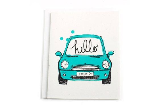 Hello MINI Cooper Card. Hand Screen Printed in Teal.