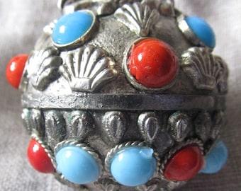 Etruscan Snuff Bottle Pendant Necklace, Ships Worldwide