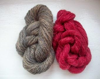 Handspun rare breed Wensleydale yarn natural dyed logwood brazil wood by SpinningStreak