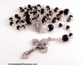 Miraculous Medal Wire Wrapped Rosary Beads In Black Onyx by Unbreakable Rosaries