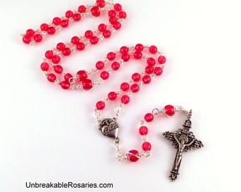 Sacred Heart of Jesus Rosary Beads In Cranberry Red Czech Glass by Unbreakable Rosaries