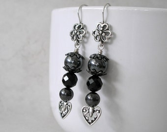 Black Onyx Hematite Earrings- Boho Chic Silver Black Fashion Jewelry For Women- Gemstone Stack, Hearts and Flowers