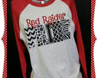 Custom spirit tee- 2 color glitter vinyl 3/4 raglan tee shirt by No Bow... No Go