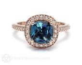 London Blue Topaz Ring London Blue Halo Topaz Cushion Engagement Ring 14K or 18K Gold December Birthstone Blue Gemstone Ring