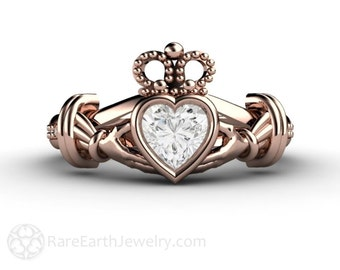 Claddagh Ring White Sapphire Engagement Ring Irish Promise Ring 14K or 18K White Yellow or Rose Gold
