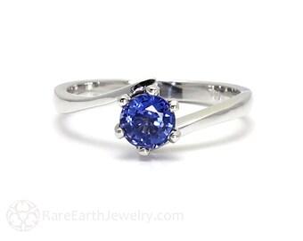 Blue Sapphire Engagement Ring Ceylon Blue Sapphire Ring Bypass Solitaire 14K or 18K Gold Unique Engagement