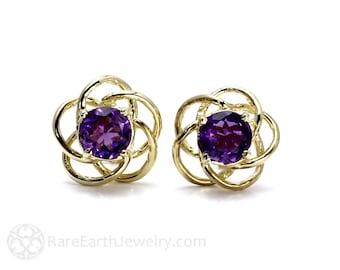 Gemstone Earrings Amethyst Earrings Birthstone Earrings 14K Gold Stud Studs Amethyst Citrine Garnet Peridot Topaz Post Earrings