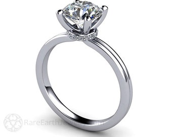 Moissanite Solitaire Engagement Ring Moissanite Engagement Ring Conflict Free Diamond Alternative 14K or Palladium
